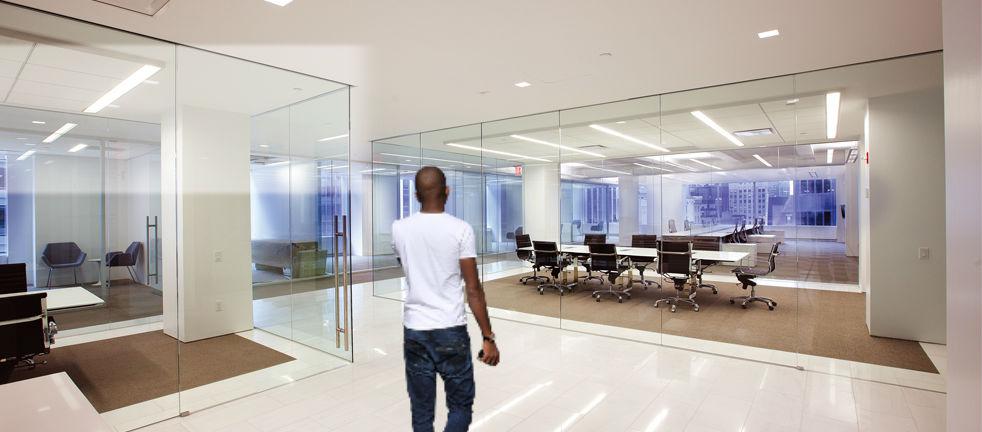 man walking in offfice