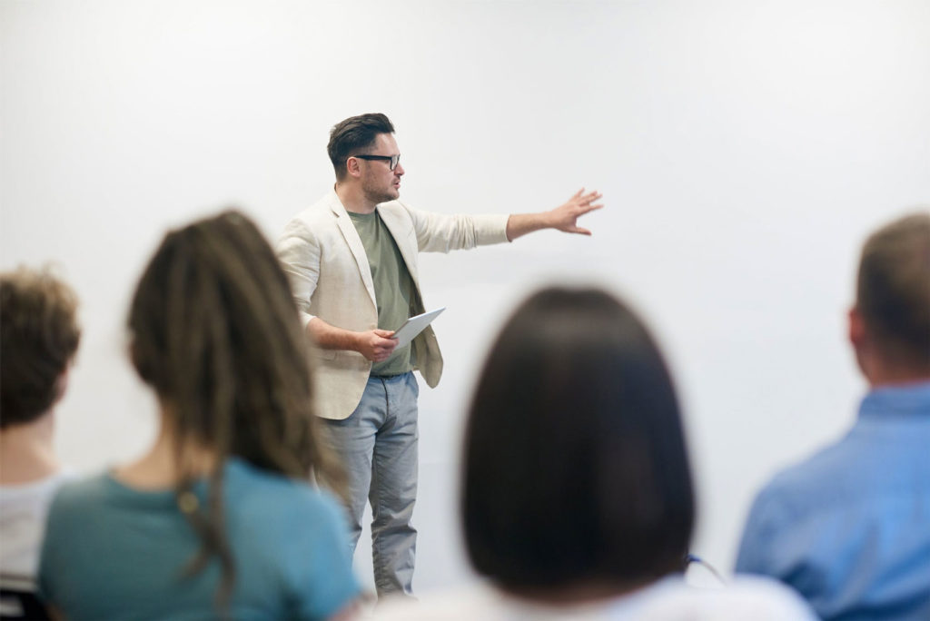 man teaching ecommerce
